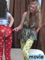 Lesbian babes fitting exclusive pantyhose before rubbing against each other