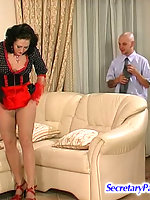 Blindfold French maid in sheer-to-waist pantyhose getting screwed on sofa