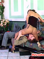 Heated mature gal in slight sheen pantyhose getting fucked in cowgirl style