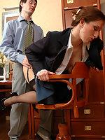 Secretary in black nylons teasing hot guy flashing her slit in various ways
