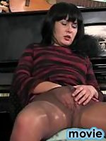 Revealing her open pussy cutie going for hard scoring with her pantyhose on