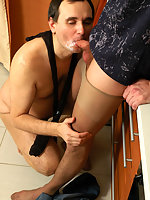 Filthy gay guy lowering shiny pantyhose craving to gobble on stiff pecker