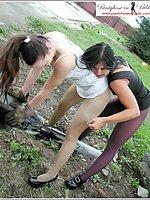 2 Sluts In A Builders Yard, Pantyhose Encasement Outdoors
