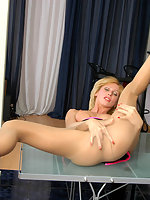 Salacious blonde in smooth tights caressing her extremely tempting curves