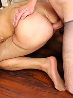 Hot gay guy savoring luxury hosiery before getting fucked on all her fours