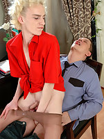 Well-hung policeman stretching tight ass of sissy guy in control top tights