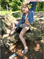Hot Teen Babe In Silver Pantyhose In A Park Flashing At Passers-By