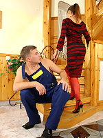 Randy babe in luxury red stockings taking pleasure in fucking with a worker
