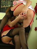 Black-stockinged girls stretching nylons and putting to use their handy toy