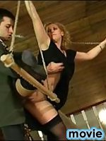 Vivacious chick in sheer stockings brings wild pleasure to blindfold guy