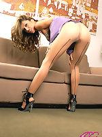 Sexy Isbella teasing in sheer tan pantyhose