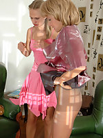 Raunchy chick in control top tights seducing older lady into pantyhose sex