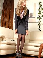 Just from the shower babe ready for working day taking on her classy nylons