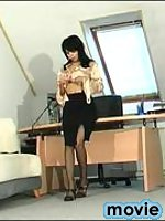 Red hot secretary in silky stockings revealing her fucking skills at work