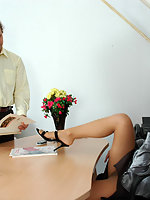 Horny secretary getting her buns spread without taking off her pantyhose