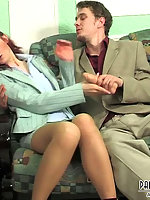 Lusty babe in classy hose letting her co-worker to dildo and poke her pussy