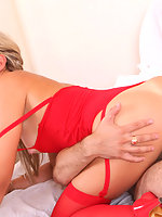 Blonde Lena in hot red stockings hardcore