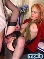 Long-haired cutie in red nylons getting banged from both her ends on floor