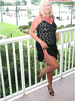 Natasha Flashes Her Tan Pantyhose To Hotel Guests From Her Balcony