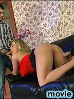 Blondie in red high heel shoes and barely visible pantyhose getting horny