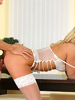Blonde busty Dionne in stockings and heels fucking