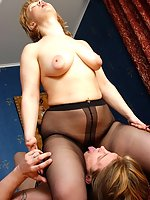 Filthy guy fitting on mom's black pantyhose before tasting nyloned pussy
