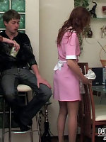 Hung guy asks maid in lacy pantyhose for extra job putting to work his rod