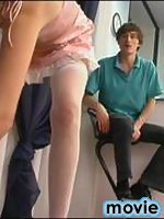 Smashing French maid in white nylons seducing a guy with her succulent pink
