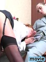 Mischievous babe in nylon stockings having a real desire for fucking action