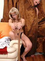 Hung guy can't resist his lust spying upon mature gal fitting on lacy hose