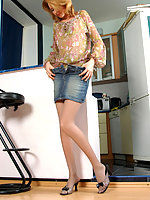 Steaming hot smoker in flesh-colored pantyhose getting naughty like hell