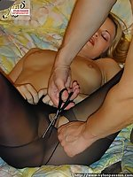 Pantyhosed fellow slivering pantyhose of his girlfriend and fucking her.