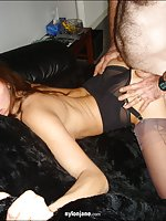 Jane gets fucked hard over a sofa in some sexy black nylons