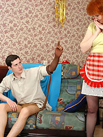 Hot guy rubbing his nyloned cock against pantyhosed legs of French maid mom