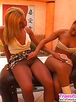 Shemale's stiff secret aching for suck-n-ride with cutie in lacy pantyhose