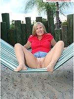 On The Hammock Flashing Pantyhose On The Beach