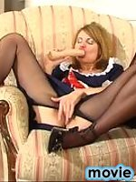 Sultry French maid in sheer-to waist pantyhose arousing overwhelming desire