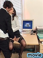 Brunette secretary Angelina Croft seduces coworker