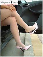 Roadside In White Pantyhose Flashing At Drivers