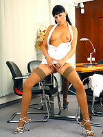 Leggy secretary Jessica Dame in light tan nylons in the meeting room