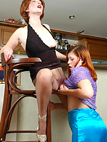 Naughty milf in sheer-to-waist pantyhose seducing housewife into lez games