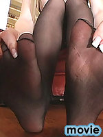 Sexy Ashley Roberts plays with her nylon feet