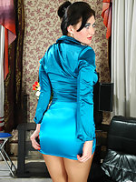 Lewd upskirt brunette flashing her snatch clad in flesh-colored pantyhose
