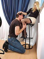 Nylon-addicted pair derive pleasure from doggystyle fucking on the stool