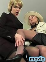 Smart business-ladies licking classy nylons and shoving tongue into hot box