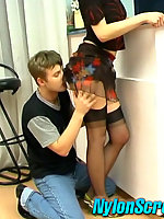 Gorgeous gal in smooth stockings can hardly wait any minute for hot fucking