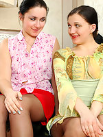 Brunettes in control top tights fondling each other before hot dildo action