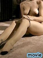 Sexy naked Madison slides on tan pantyhose