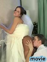 Red hot bride in tan pantyhose ready for wild banging before the ceremony
