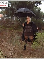 A Walk In The Woods In Black Sheer Pantyhose And Boots